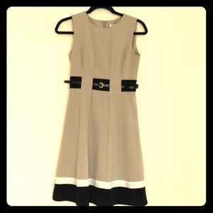 Calvin Klein belted khaki tan flare dress Size 2P